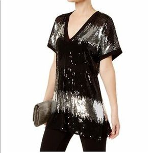 Inc Color-blocked Sequined Tunic